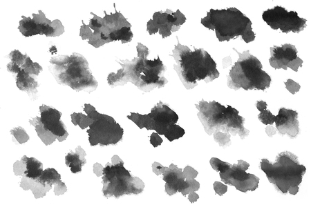 Watercolor Ink Stains Set On White Background