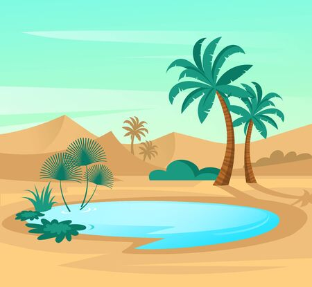 Oasis in desert. Landscape scene in flat design. Vector illustration with sand dunes, blue lake and palms.