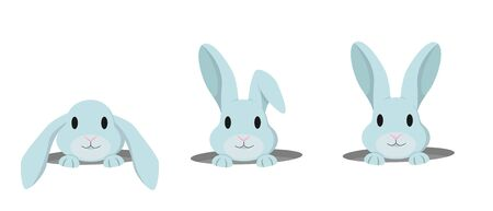 Rabbit peeps out of hole. Vector set of cute bunnies in cartoon style. 向量圖像