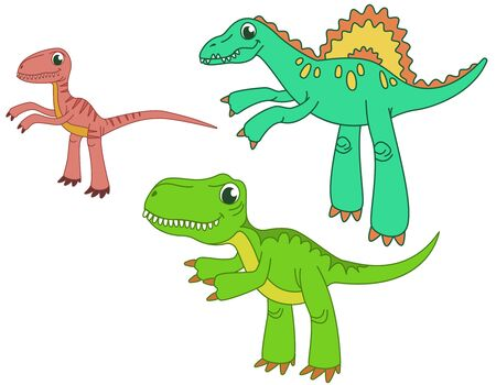 Set of carnivorous dinosaurs. Velociraptor, spinosaurus and tyrannosaurus in funny cartoon style. 矢量图像