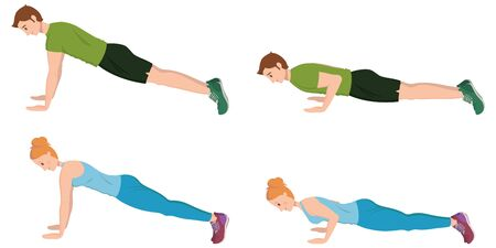 Man and woman doing push-UPS. Male and female characters in cartoon style. Ilustración de vector