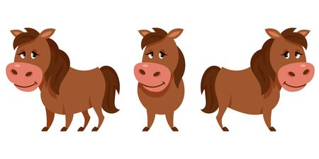 Horse in different poses. Farm animal in cartoon style.