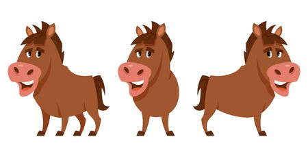 Stallion in different poses. Farm animal in cartoon style.