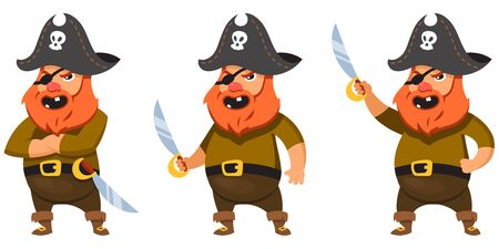 Pirate in different poses. Male character in cartoon style. Illustration