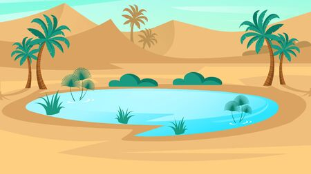 Oasis in desert. Landscape scene in flat design. Vector illustration with sand dunes, blue lake and palms.
