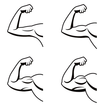 Vector set of strong arms with contracted biceps. Illustration of muscles in black and white style. Gym logo.