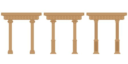 Vector set of antique arches. Architectural objects in flat style isolated on white background. Illusztráció