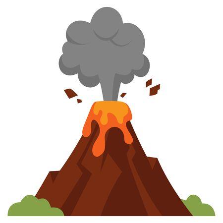 Illustration of eruption. Volcano in cartoon style isolated on white background. Ilustração Vetorial