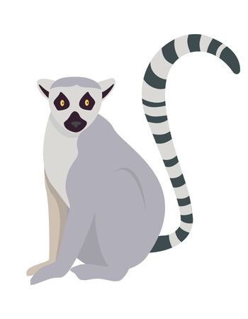 Lemur in cartoon style. Cute animal isolated on white background.