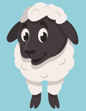 Standing cute lamb. Farm animal in cartoon style.