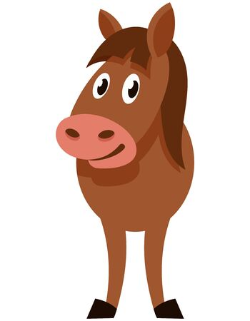 Standing funny foal. Farm animal in cartoon style.