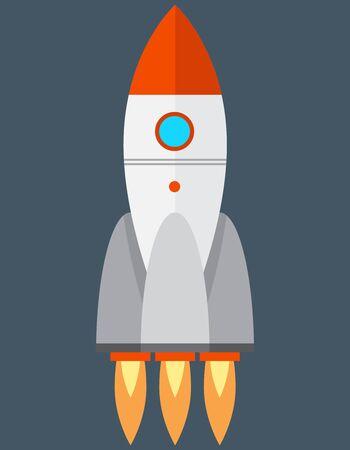 Rocket in flat style. Spaceship take off.