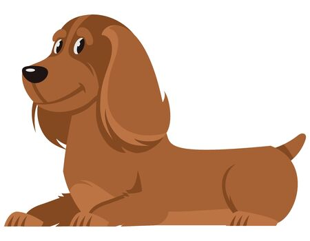 Lying Cocker Spaniel side view. Cute pet in cartoon style.