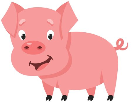 Standing cute little pig. Farm animal in cartoon style.