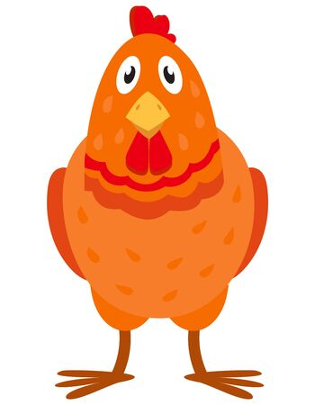 Hen front view. Farm animal in cartoon style.