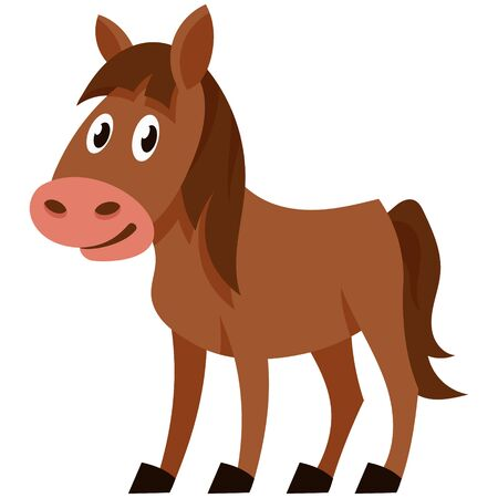 Standing funny foal. Farm animal in cartoon style.  イラスト・ベクター素材
