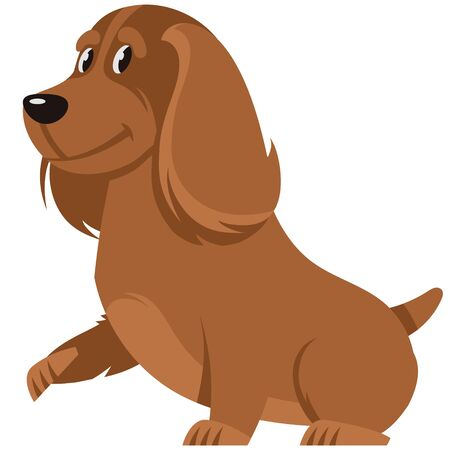 Cocker Spaniel giving paw. Cute pet in cartoon style. Illustration