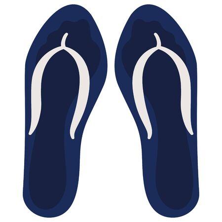 Men's flip-flops isolated on white background. Summer footwear in cartoon style.