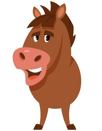 Standing funny stallion. Farm animal in cartoon style.