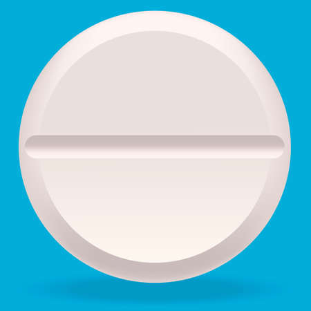 Round medical tablet. Pill in realistic style.