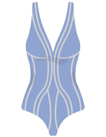 One-piece swimsuit isolated on white background. Beachwear in cartoon style.