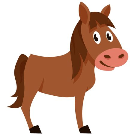 Standing funny foal. Farm animal in cartoon style. 向量圖像