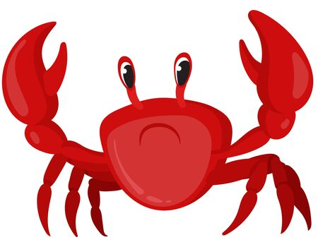 Crab in cartoon style. Sea animal isolated on white background.