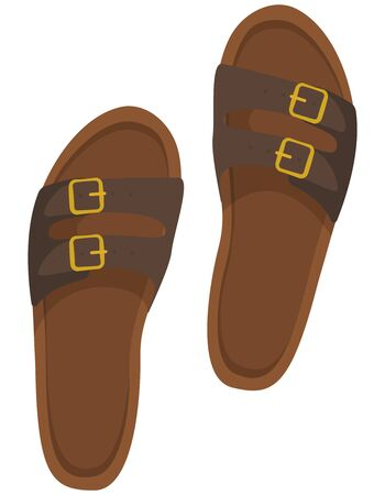 Brown men's sandals. Summer footwear in cartoon style.