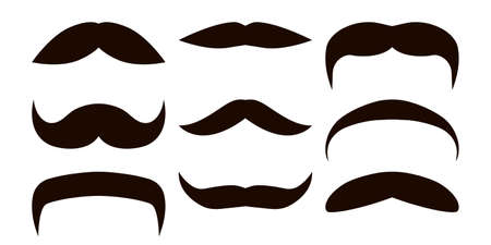 Vector set of mustaches. Props in black and white style.