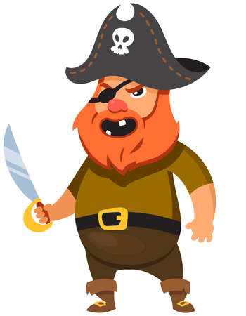 Pirate in cartoon style. Funny male character. Ilustração Vetorial