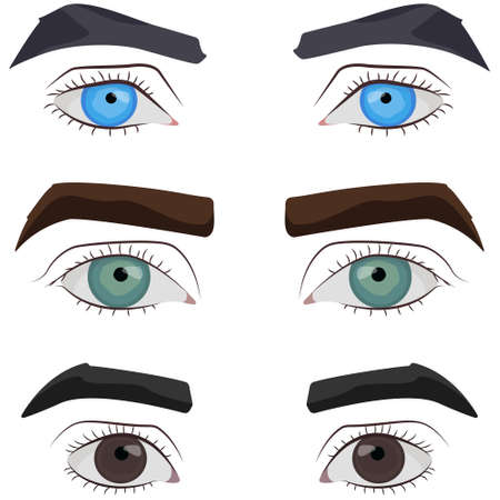 Set of male eyes. Parts of face in cartoon style.