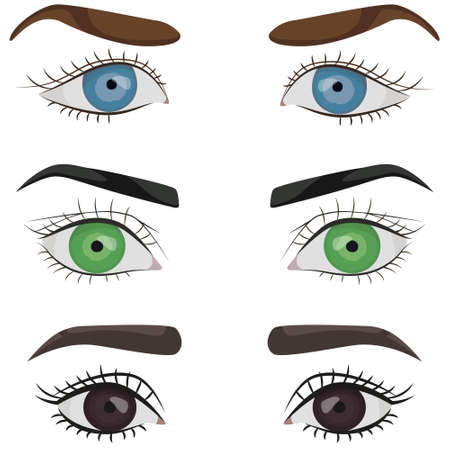 Set of female eyes. Parts of face in cartoon style.