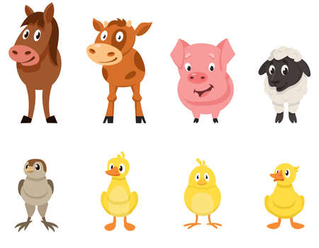 Set of farm animals front view. Young characters in cartoon style.