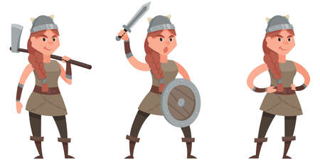 Viking in different poses. Female character in cartoon style.