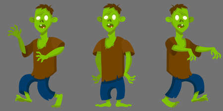 Zombie in different poses. Halloween character in cartoon style.