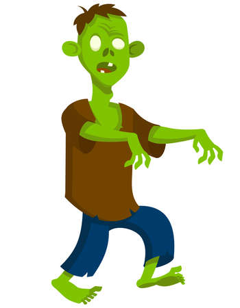 Walking zombie in cartoon style. Scary Halloween character.
