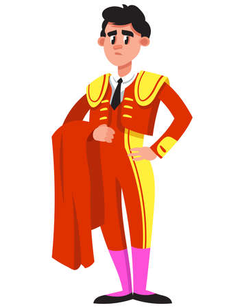 Standing serious bullfighter. Male character in cartoon style.