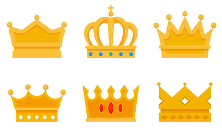 Set of different golden crowns. Beautiful symbols of king. 向量圖像