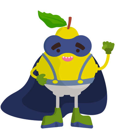 Funny fruit superhero. Pear in cartoon style. 向量圖像