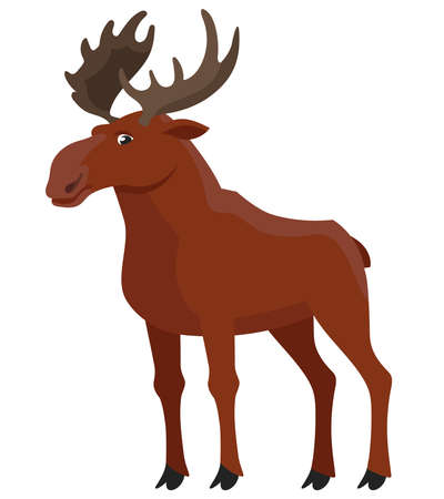 Standing elk three quarter view. Beautiful animal in cartoon style.