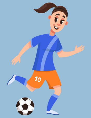 Female soccer player kick ball. Beautiful character in cartoon style. Çizim