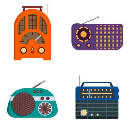 Set of retro radios. Outdated equipment in cartoon style. Çizim