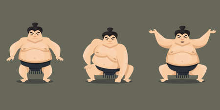 Sumo wrestler in different poses. Male character in cartoon style. Иллюстрация