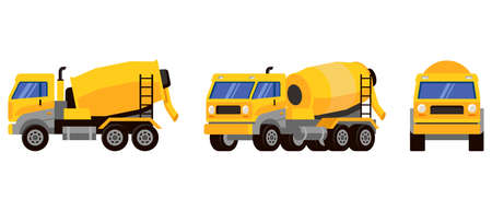 Concrete mixer truck in different angles. Special machinery in cartoon style. Ilustração