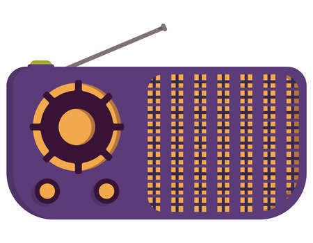 Purple retro radio. Outdated equipment in cartoon style.