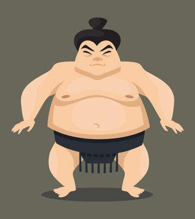 Standing sumo wrestler. Japan character in cartoon style.