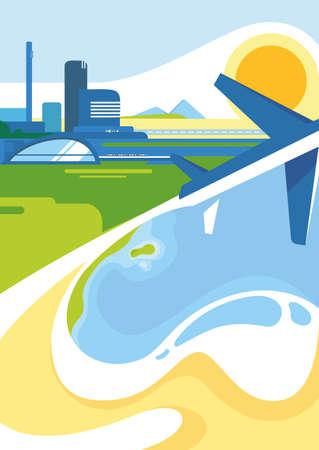 Poster template with city, coast and airplane. Travel concept art in flat design. Vektoros illusztráció