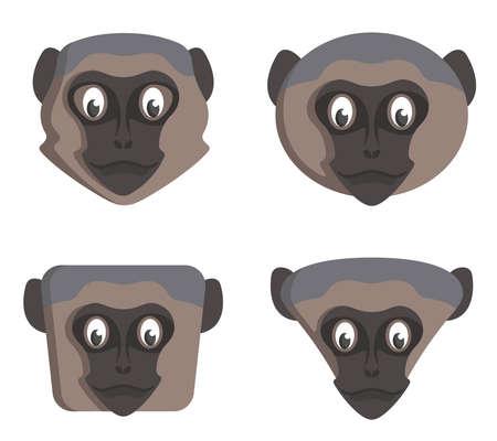 Set of cartoon vervet monkeys. Different shapes of animal heads. Vettoriali