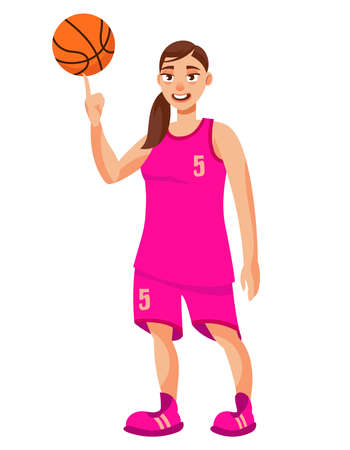 Basketball player spinning ball on her finger. Sportswoman in cartoon style.