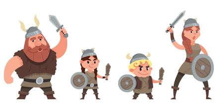 Rejoicing viking family. Characters in cartoon style. Vektoros illusztráció